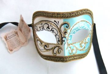 Genuine Venetian Glittered Turquoise & White half Mask